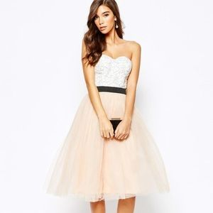 RARE LONDON   Lace Midi Dress With Tulle Skirt